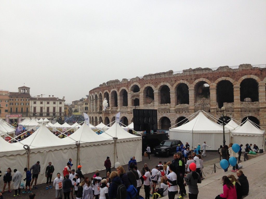 8.30am, just before the race. Not the prettiest day but the Arena is looking good as always.